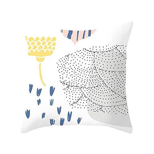 Dylandy Fundas de cojín cuadradas de algodón suave con estampado de lino para decoración del hogar, doble costura, decoración del coche, sofá