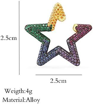 Star Earcuffs Earring for Women Colorful Multi-Hoop Rhinestone Ear Cuff Romantic Star Rectangle Boho Ear Clips
