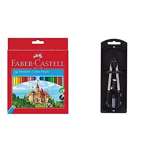 Faber-Castell Fighting Knights 111224 - Lápices de, color es en caja de cartón + 32722-8 - Compás de ajuste rápido, con tornillo central, articulaciones en ambos brazos y accesorios de recambio