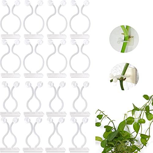 FANGZ 100 PCS Clips de Soporte de Plantas, Clips de Pared para Escalar Plantas de Jardín Adhesivo Gancho para Plantas Trepadoras, Sujeción de Cables o para Decoración (50pcs M+50pcs L, Blanco)