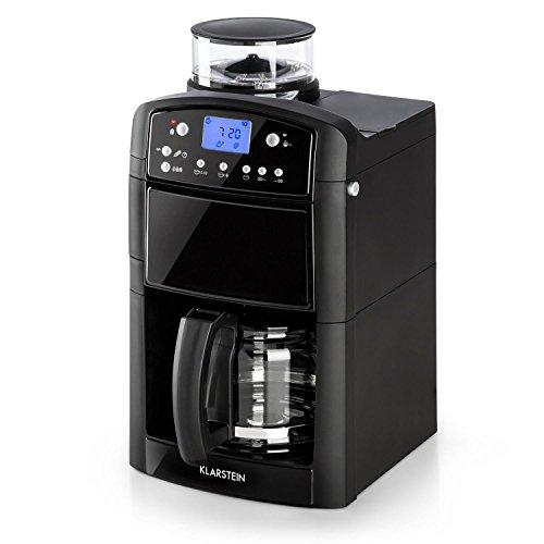 Klarstein Aromatica Máquina de café con molinillo conico- Máquina con filtro, Filtro de carbono, Antigoteo, 3 aromas: suave, medio e intenso, Temporizador 24h, 10 tazas, Filtro dorado, Negro