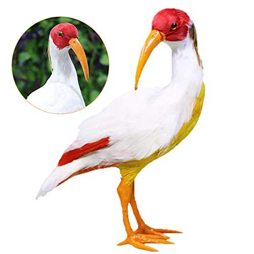 Modelo de simulación del pájaro - pluma verdadera realista Ibis Crestado adornos de juguete - Artesanías hechas a mano para los niños regalo de cumpleaños de Navidad juguetes educativos de ens