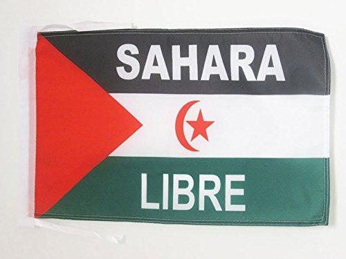 AZ FLAG Bandera de Sahara Occidental Libre 45x30cm - BANDERINA SAHARAUI Frente POLISARIO 30 x 45 cm cordeles