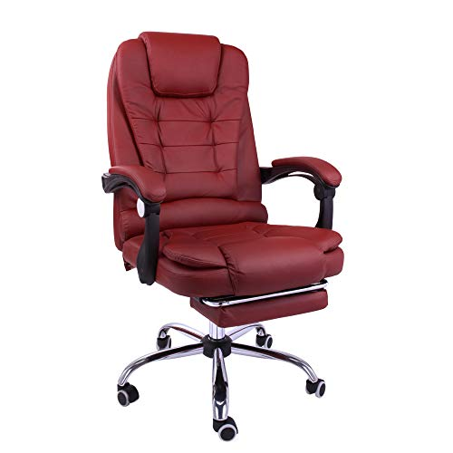 Halter Reclining Leather Office Chair, Modern Executive Adjustable Rolling Swivel Chair, Gaming Chair with Headrest and Retractable Footrest, Burgundy