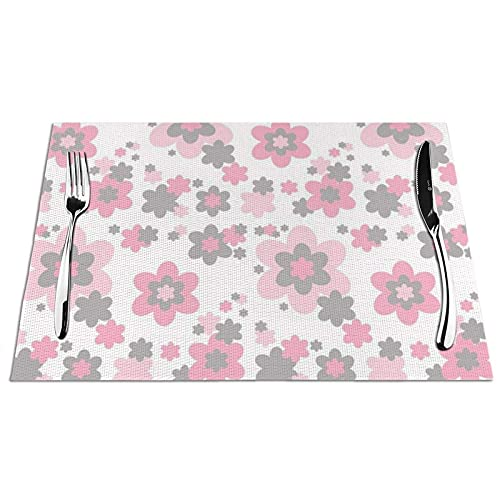 Tcerlcir Placemats Set of 6 Pink Grey Gray Floral Heat Resistant Washable Non-slip Place Mats Table Mats for Kitchen Dining Table 18'X12'