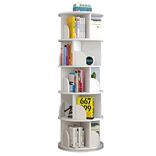 Librerie Scaffale Girevole a 360 ° Scaffale Multistrato Coltiva la Lettura dei Bambini Salva Spazio (Color : Bianca, Size : 40 * 160cm)
