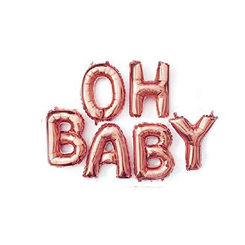 Oh Baby Aluminum Foil Balloons Banner for Baby Shower Decoration (Rose Gold)