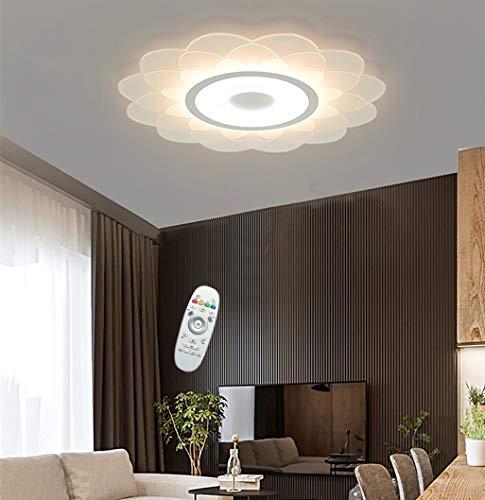 RDYL LED plafondlamp Super Mint bloemvormig eenvoudige acryl hanglamp driekleurig traploos dimbaar met afstandsbediening slaapkamer woonkamer keuken decoratieve lamp [A ++ energiebesparend]