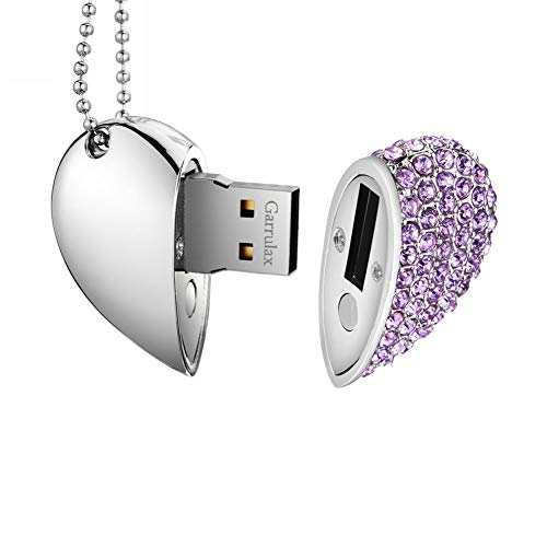 Garrulax Pendrive, USB Chiavette 8GB / 16GB / 32GB /64GB Premium Impermeabile Cuore Diamante ad alta velocità USB 2.0 dati, unità di memoria Flash Penna Disk Pen Drive