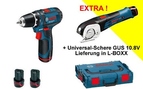 Preisvergleich Produktbild BOSCH Akku-Bohrschrauber GSR 10.8-2 und Akku-Universalschere GUS 10.8V + 31 tlg. BIT-BOX