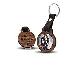 CHRISCK design Schlüsselanhänger mit Fotodruck und Gravur / Echtes Holz und absolut kratzfestes Foto / schöne Geschenkidee für Partner, Geschwister, Freundinnen, Papa oder Mama
