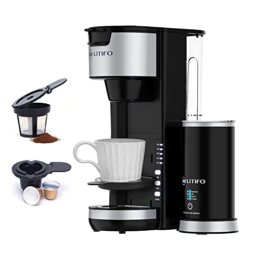 LITIFO Single Serve Coffee Maker with Milk Frother, 6 In 1 Coffee Machine for Tea, K Cup Pods & Ground Coffee, Compact Cappuccino Machine and Latte Maker combo, Black