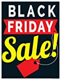 P15BYF'Black Friday Sale Red Tag' Holiday Seasonal Vinyl Window Sale Sign Posters Retail Business Store Signs (P15-22' x 28')