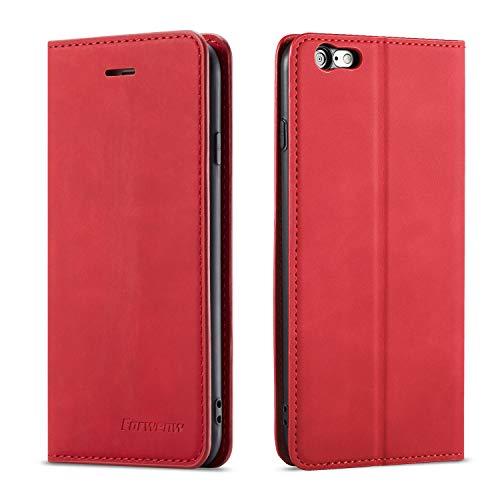 QLTYPRI Hülle für iPhone 6 Plus 6S Plus, Premium Dünne Ledertasche Handyhülle mit Kartenfach Ständer Flip Schutzhülle Kompatibel mit iPhone 6 Plus 6S Plus - Rot