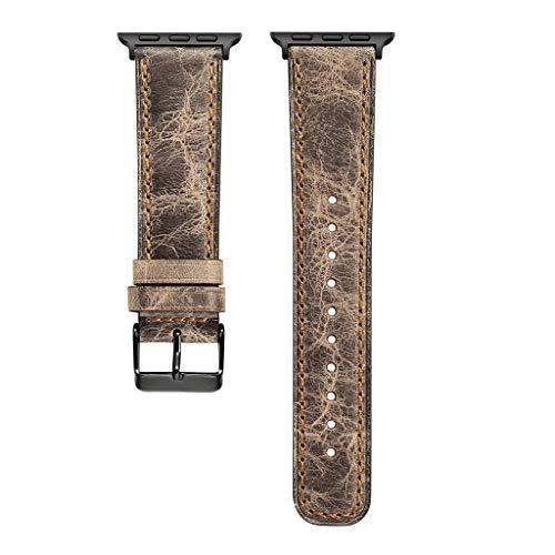Transer Braccialetto di Cinturino in Cinturino in Pelle con Cinturino in Vera Pelle di Ricambio, per Apple Watch Series 4 40mm (Khaki)