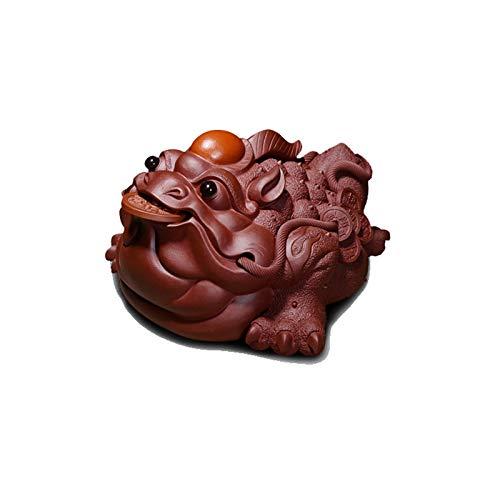 Estatua chinesische Feng Shui Fin de alta gama CREATIVA CREATIVA Dorado Sapo Estatua Tea Bandeja Decoración Oficina Oficina Escritorio Tres Piernas Dorado Decoración for Toad Decoración Interior Feng