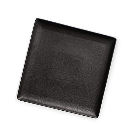 Assiette Ménage Plat Western Cadeau Steak Vaisselle Burd Carrée Noire en Céramique 25cm (Color : Black, Size : 25 * 25 * 2cm)