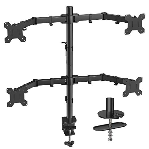 Quad Computer Monitor Mount - Heavy Duty LCD Computer 4 Monitor Stand with Full Articulation, Fits Four Screens up to 27 Inches - Each Arm Holds up to 17.6lbs, VESA 75x75-100x100mm by HUANUO