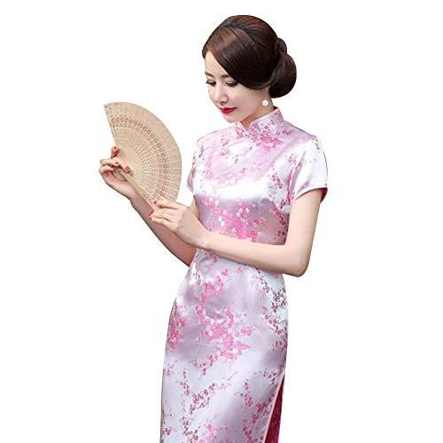 Kalaokei Cheongsam-Kleid, traditionelles Pflaumenblütenkleid, für Damen, chinesisches langes Cheongsam-Abendkleid für Brautjungfern, Pink, L/36