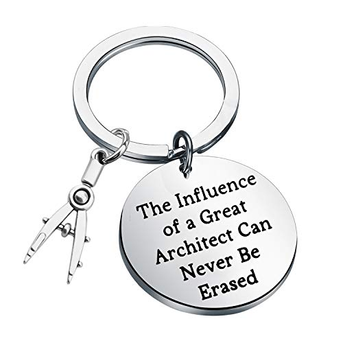 FEELMEM Architecture Keychain Architect Gift Architectural Engineer Appreciation Keychain The Influence of A Great Architect Can Never Be Erased Jewelry for Architect Engineers (Silver)