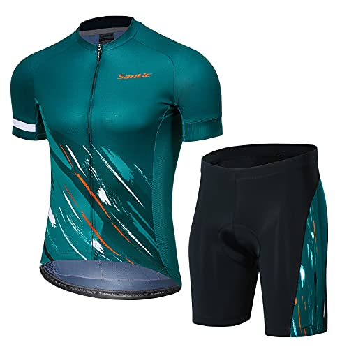 Santic Maillot Corto Ciclismo Hombres, 4D Gel Acolchado Maillot Bicicleta Montaña Bike MTB Culotte Transpirable, Secado Rápido Traje de Ropa,Verde L