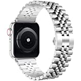 Wolait Compatible with Apple Watch Band 44mm 42mm 40mm 38mm, Stainless Steel Heavy Band with Butterfly Folding Clasp Link Bracelet for iWatch Series 6/SE Series 5/4/3/2/1 Men,Silver, 44mm/42mm