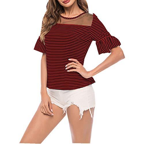 Camiseta Mujer Top Mujer Elegante Dulce Perspectiva Sexy Cuello Redondo Manga Corta Verano Cómodo Chic Trompeta Mangas Rayada Nueva Blusa Mujer D-Red XL