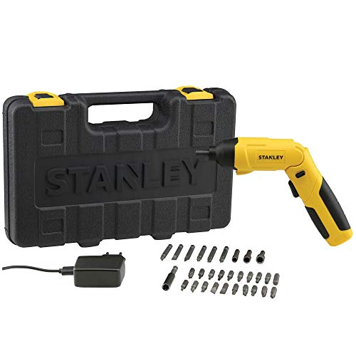 STANLEY SCS4K 4V, 6.35mm, 4.5Nm Li-ion Cordless Screwdriver with integrated LED and 30pc Accessories set-1.5Ah Battery
