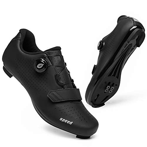 Mens Road Bike Cycling Shoes Compatible with Peloton SPD & Look ARC Delta Indoor Racing Bikes Shoes with Rotating Buckle for Men/Women Quick Lock Cleat Outoor Bicycle Shoe Black12