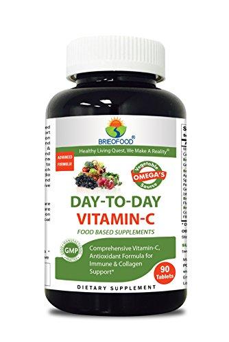 Brieofood Food Based Vitamin C 1000mg 90 Tablets - Premium Formula with Brieofood Fruit & Vegetable Blends, Digestive Blend, Vegetable Omega Blend