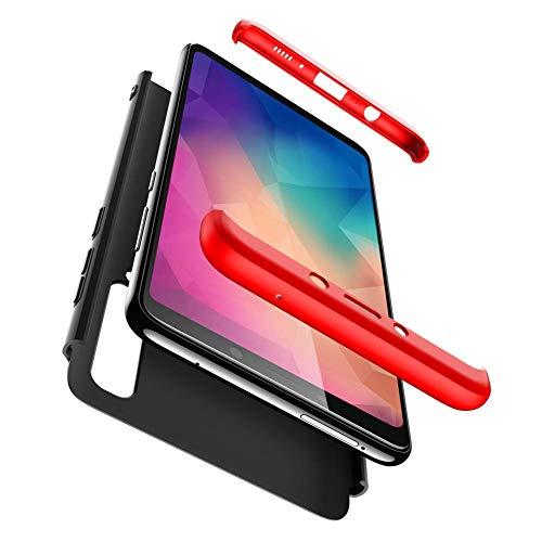 """Capa Capinha Anti Impacto 360 Para Samsung Galaxy A9 2018 Tela De 6.3"""" Polegadas Case Acrílica Fosca Acabamento Macio - Danet (Preto com vermelho)"""