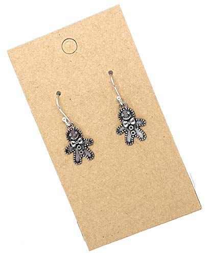 Gingerbread Man on Sterling Silver Dangle Earrings Christmas Jewelry Holiday