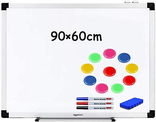 Whiteboard Magnettafel Wandtafel - mit Aluminium-Rahmen, und Stiftablage, magnettafel beschreibbar, pinnwand, mit Stifte,Radiergummi,Magnet, 90 x 60cm