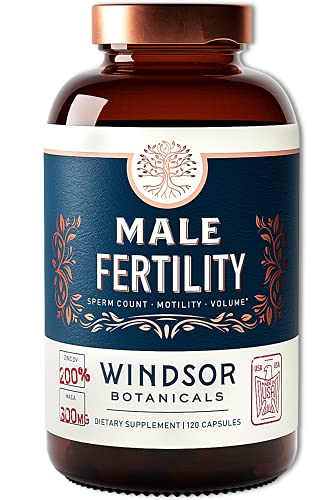 Male Fertility Supplement by Windsor Botanicals - Sperm Count, Motility and Volume - 120 Gluten-Free, Non-GMO Capsules - Male Reproductive Health Support - Concentrated Multi Vitamin Mineral