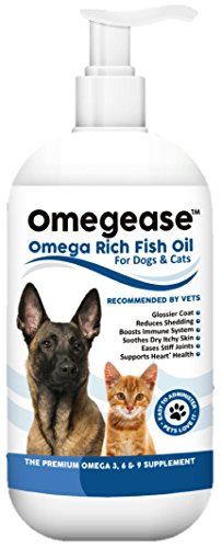 100% Pure Omega 3, 6 & 9 Fish Oil for Dogs and Cats - Best For Skin, Coat, Joint, Heart & Brain Health. Soothes Itches. From Wild Caught Fish - Better Source of DHA & EPA Than Farmed Scottish Salmon Oil.