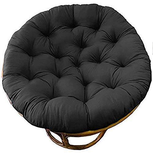 WBDZ Papasan Stuhlkissen, hängendes Stuhlsitzkissen hängendes Stuhlkissen Verdicken Sie das runde Stuhlkissen und Lassen Sie es in unser bequemes und übergroßes Papasan Schwarz 80x80cm sinken