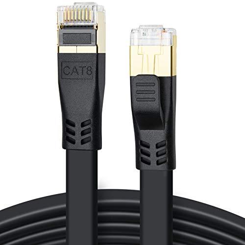 Cat 8 Ethernet Kabel 10m, Hochgeschwindigkeit 40Gbps 2000MHz SFTP CAT8 Flaches Patchkabel, Gigabit Netzwerkkabel LAN Kabel mit Vergoldetem RJ45 Stecker für Gaming, Modem, Router, PC (10m/Schwarz)