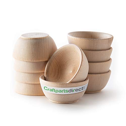 Small Wooden Bowl Set | Pinch Bowl | Condiment Cups -by Craftpartsdirect.com | BAG OF 10