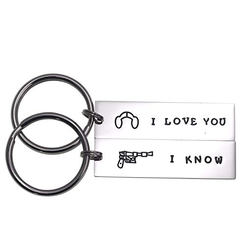 Couple Gifts for Him and Her Wedding Gifts Star Wars Jewelry I Love You I Know Keychain Girlfriend Boyfriend Husband Wife (I Love You I Know)