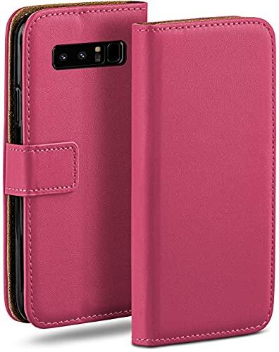moex Klapphülle kompatibel mit Samsung Galaxy Note8 Hülle klappbar, Handyhülle mit Kartenfach, 360 Grad Flip Hülle, Vegan Leder Handytasche, Pink