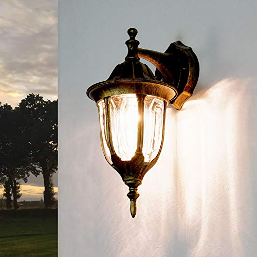 Rustikale Wandlampe Außen Gold Antik MILANO wetterfest Alu E27 Gartenbeleuchtung Balkon Terrasse Tür