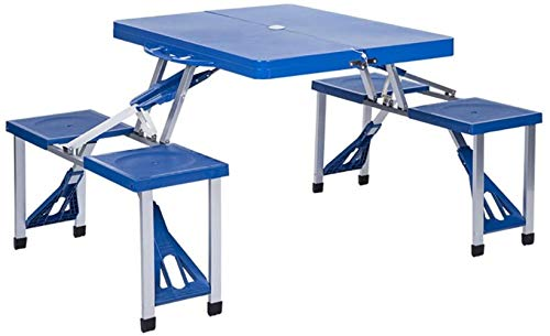 Outdoor Balcón Jardín Camping Mesa & Chair Portátil Kit salvaje de viaje playa mesa plegable mesa plegable, color azul L*W*H: 134*85*67cm