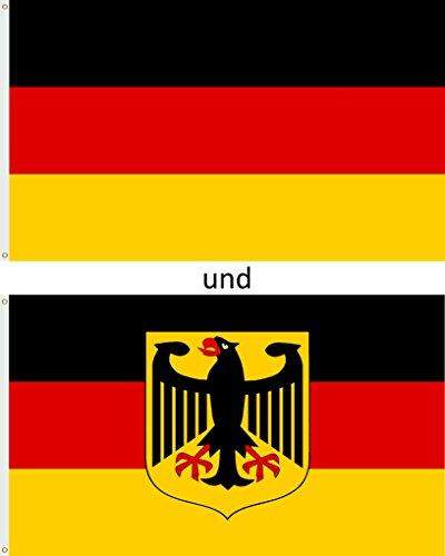 CN Outdoor Lot de 2 drapeaux de l'Allemagne pour fan de football - Résistants aux intempéries - Coupe du monde - 150 x 90 cm - Aigle BRD