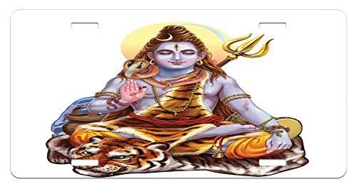 zaeshe3536658Yoga Nummernschild, authentisches Asiatisches Gottheit meditierend Sitzgelegenheit auf Eastern Tiger Sacred Cosmos Spirit Thema, Hochglanz Aluminium Neuheit Teller, 15,2x 30,5cm.