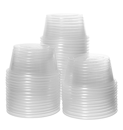 Crystalware, Disposable 2oz. Plastic Portion Cups (No Lids) Condiment Cup, Jello Shot, Souffle Portion, Sampling Cup, 100 Cups Clear (2 Ounce 100 Cups)