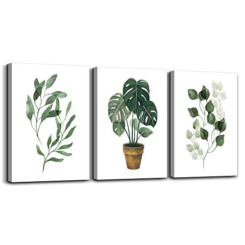 Canvas wall art for bedroom bathroom wall decor modern style Green leaves plants Watercolor painting 12' x 16' 3 Pieces Framed posters Canvas Prints for living room kitchen Home Decoration mural