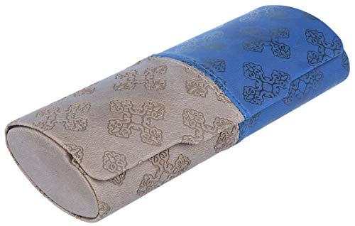 Luxe tweekleurig brillenkoker in lederlook MIRIAM in verschillende kleuren Ki | 892 blauw - bruin