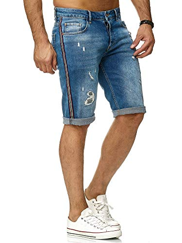 Pantalones Cortos destruidos de Lujo para Hombres con Rayas Laterales Azul