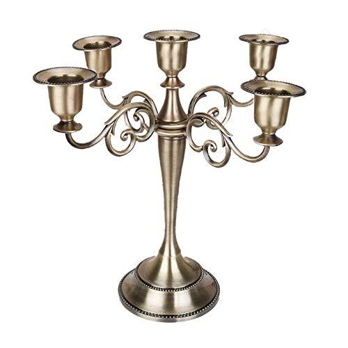 Zinklegierung Kerzenstã¤Nder 5-flammig Deko Kerzenstaender in Bronze Höhe 10.64in/27cm Aufsätze für Kerzenleuchter für Tischdekoration