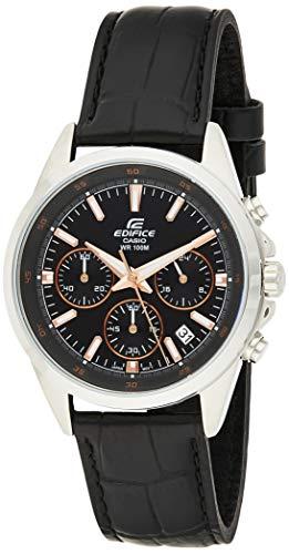 Casio Men's Edifice EFR527L-1AV Silver Leather Japanese Quartz Diving Watch